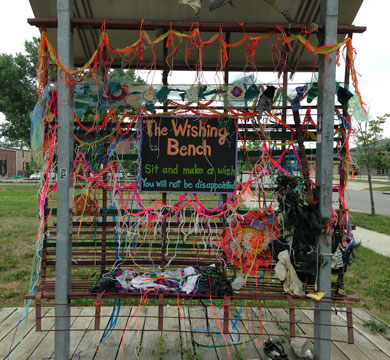 Wishing Bench Yarnbombed